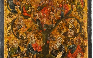 A LARGE ICON SHOWING THE TREE OF JESSE Greek, 19th...