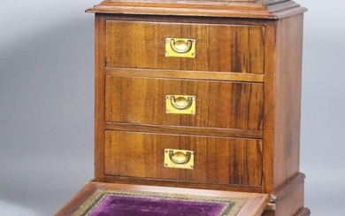 A Late Victorian Lady's Walnut Tabletop Cabinet, inlaid with...