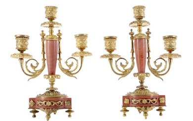 A PAIR OF LATE 19TH CENTURY ORMOLU AND ROUGE MARBLE CANDELABRA