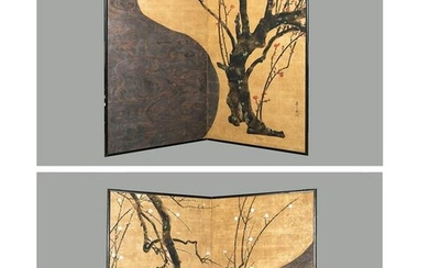 A PAIR OF TWO-PANEL BYOBU FOLDING SCREENS AFTER OGATA
