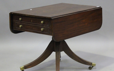 A Regency mahogany single pedestal Pembroke table, fitted with a single frieze drawer, height 68cm
