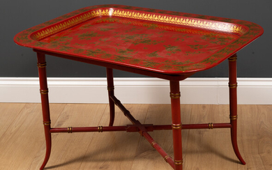 A chinoiserie style tray top table