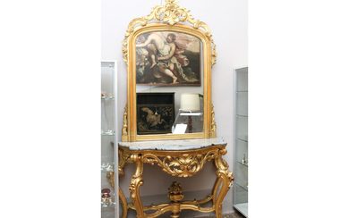 A console with gilded wood mirror