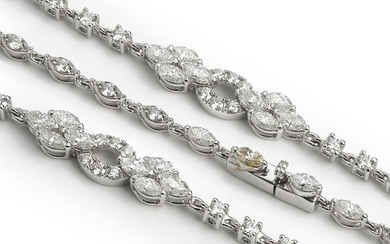A diamond necklace set with numerous brilliant- and marquise-cut diamonds weighing a total of app. 6.71 ct., mounted in 18k white gold. F/VS. L. app. 85 cm. – Bruun Rasmussen Auctioneers of Fine Art