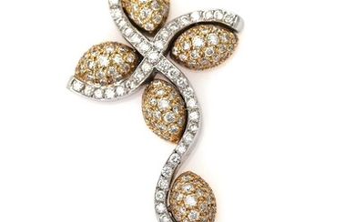NOT SOLD. A diamond pendant in shape of a cross set with numerous brilliant-cut diamonds weighing a total of 2.36 ct., mounted in 18k gold and white gold. L. 5,5 cm. – Bruun Rasmussen Auctioneers of Fine Art