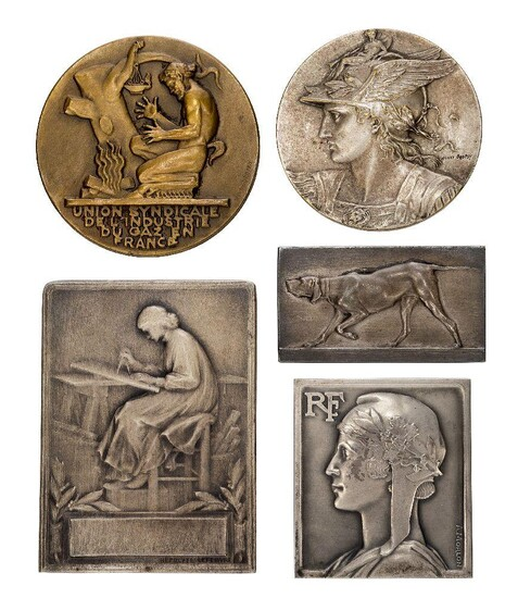 A group of Five French Medallions, Comprising:- Pierre Alexandre Morlon (French 1878-1951), a silver medallion, signed A Morlon, stamped D'Argent, on the front and showing the profile of a woman and letters RF, reverse with cast inscription from...