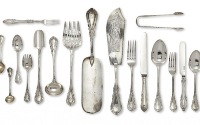 Amendment: Please note that the table knives are London, c.1961, CJ Vander and of a similar, but not identical design. A set of Victorian Lily pattern silver
