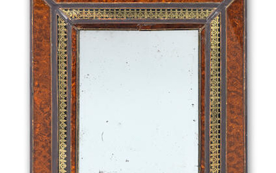 A simulated tortoiseshell and verre eglomise mirror of small size