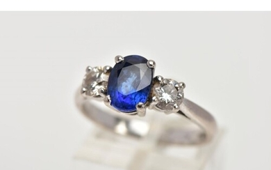 AN 18CT WHITE GOLD SAPPHIRE AND DIAMOND RING, designed with ...