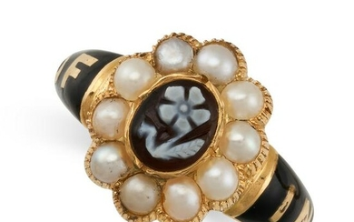 AN ANTIQUE HARDSTONE CAMEO, PEARL AND ENAMEL MOURNING