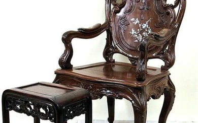 ANTIQUE CHINESE FRENCH TASTE ROSEWOOD ARMCHAIR
