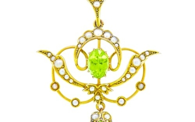 ANTIQUE VICTORIAN PEARL AND PERIDOT PENDANT, of openwork scr...