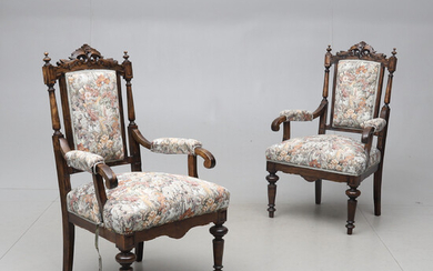 ARMCHAIRS, 1 pair, early 20th century.