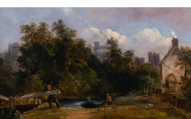 """Alfred Vickers (1786-1868) British. """"Windsor"""", with Figures ..."""