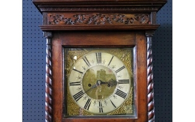 An 8 Day Oak Longcase Clock with silvered chapter ring signe...