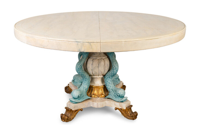 An Italian Empire Style Parcel-Gilt and Painted Center Table