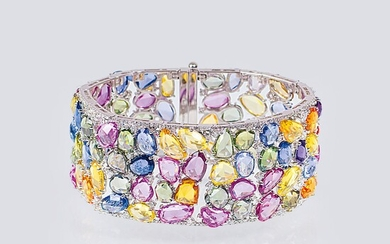 An exceptional Precious Stones Bracelet with multicoloured Sapphires and Diamonds.