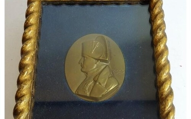 An oval 19th century bronze relief of Napoleon in profile; s...