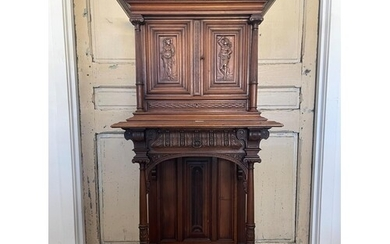 Antique French Renaissance Revival walnut hall or court cupb...