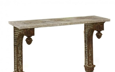 Antique Iron and Marble Wall Mount Console Table