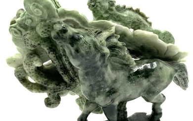 Asian Carved Jade Figure with Horse, Bat & Dragon.