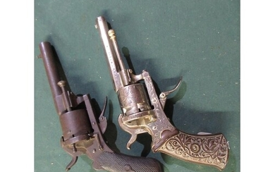 Belgium style 6 shot pin fire revolver with engraved frame c...