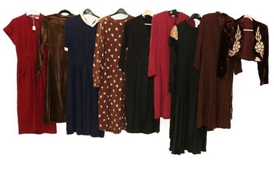 Circa 1940s and Later Ladies' Crepe and Other Dresses, comprising...