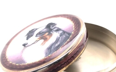 Circular enamel box with a portrait of a border collie. The ...