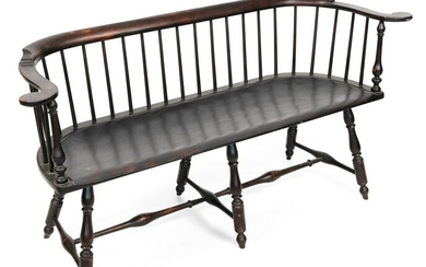 D.R. DIMES WINDSOR-STYLE BENCH New Hampshire, 20th