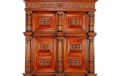 (-), Oak richly decorated Renaissance style cabinet with...