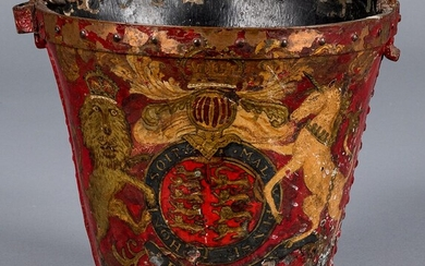 English painted leather fire bucket, 19th c.