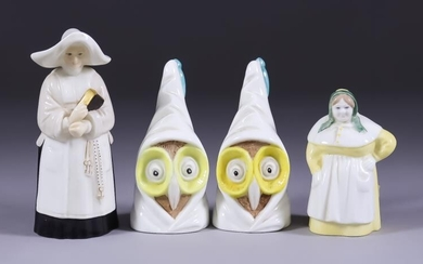 Four Royal Worcester Bone China Candle Snuffers - nun,...