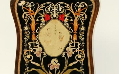 French Louis XV embroidered fire screen