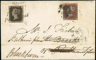 Great Britain 1840 One Penny Black Plate V JE, on 1841 (8 Dec.) entire franked 1841 1d. red-bro...