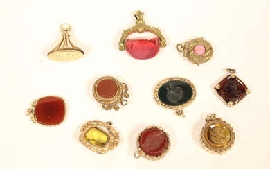 Group of 10Antique Gold Filled Fobs w Carving&Othe
