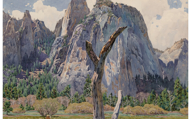 Gunnar Mauritz Widforss (1879-1934), View of Cathedral Rocks in Yosemite (1921)