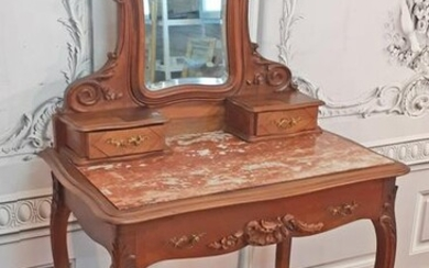 LOUIS XV STYLE CARVED WALNUT DRESSING TABLE
