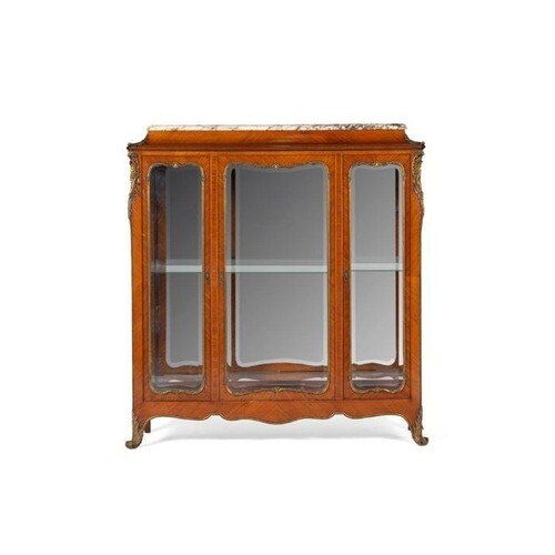 LOUIS XV STYLE KINGWOOD MARBLE TOP DISPLAY CABINET LATE 19TH...