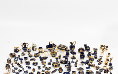 Large Group of Limoges Cobalt and Gilt Miniatures