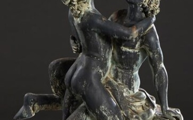 Large Patinated Bronze Erotic Figural Garden Group