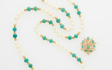 Long Gold, Turquoise Bead and Cultured Pearl Necklace and Turquoise, Diamond and Split Pearl Pendant-Brooch