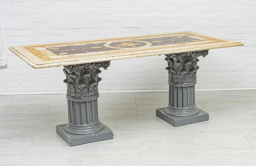 MARBLE MARQUETRY TOP TABLE