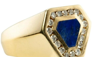 Mens Diamond Lapis Lazuli Ring 14K Gold Band Geometric