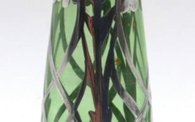 Miniature Sterling Overlay Glass Footed Vase