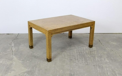 Modern Golden Brown Wood & Canvas Coffee Table 1970s