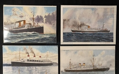 OCEAN LINER: Set of four 20th Century watercolours one signe...