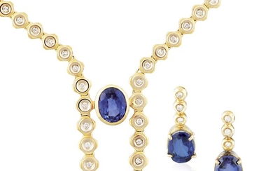 PAIR OF DIAMOND, SYNTHETIC SAPPHIRE AND GOLD EARRINGS AND NECKLACE