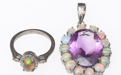 PENDANT & RING, sterling silver, with opals, amethyst & diamonds, contemporary.