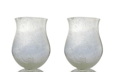 Pair Of Hurricane Glass Candle Holders