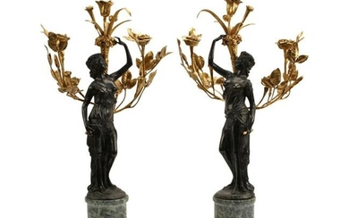 Pair of Louis XV Style Bronze Figural Candelabras.
